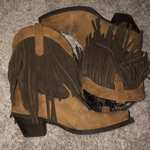 Ariat Leather Fringe Cowboy Booties